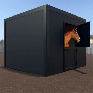 Box de cavalo telhado plano